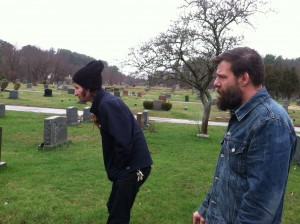 Boyd and Rich checking out the grave site
